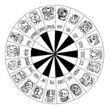 Mayan Calendar Circle. Mayan Calendar drawing in black and white Stock Photos