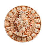 Mayan calendar on clay plate, isolated on white. Royalty Free Stock Photography