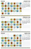 Mayan calendar, January-March 2012 (American) Royalty Free Stock Photos