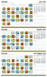 Mayan calendar, July-September 2012 (European). Mayan and Gregorian combined calenders for July, August, September Stock Photo