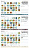 Mayan calendar, October-December 2012 (American). Mayan and Gregorian combined calenders for October, November, December Royalty Free Stock Image