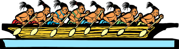 Mayan Canoe. Done in temple mural style Royalty Free Stock Photos