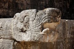 Mayan Carved Snake Head at Chichen Itza Stock Photo