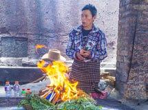 Mayan Ceremony. CHICHICASTENANGO , GUATEMALA - JULY 26 : Guatemalan man take part in a traditional Mayan ceremony in Chichicastenango , Guatemala on July 26 2015 Stock Photos
