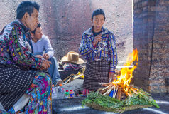 Mayan Ceremony. CHICHICASTENANGO , GUATEMALA - JULY 26 : Guatemalan men takes part in a traditional Mayan ceremony in Chichicastenango , Guatemala on July 26 Stock Images