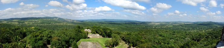 Mayan City. The panoramic view of Xunantunich (Stone Lady) - Mayan city, archaeological site in Belize royalty free stock photos