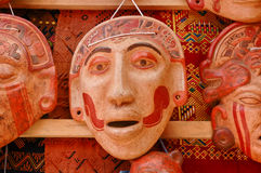 Mayan clay masks Stock Photography
