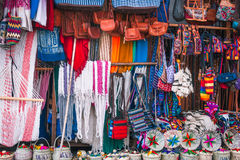Mayan clothing and accessories - Souvenirs at a market in Guatemala Royalty Free Stock Images