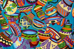 Mayan Colorful Vase Pattern Stock Photo