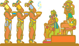 Mayan Court. Mayan king and court receiving tribute derived from mayan temple imagery Royalty Free Stock Images
