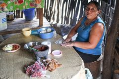 A Mayan descendant making a traditional mayan meal. In the yucatan mexico Stock Photo