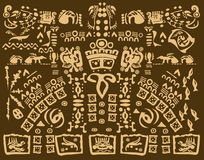 Mayan drawing of ancient symbols Royalty Free Stock Images