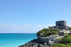 Mayan fördärvar på Tulum i Mexico Arkivbilder