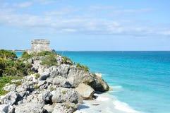 Mayan fördärvar på Tulum i Mexico Arkivfoto