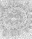 Mayan face. Doodle coloring page for adults with maya. stock illustration