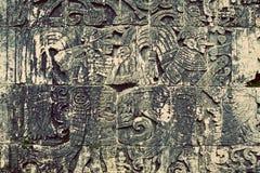 Mayan forntida Carvings Arkivbild