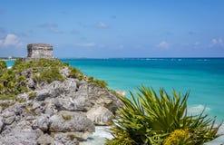 Mayan fördärva på Tulum nära Playa Del Carmen, Mexico Arkivbilder