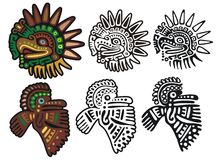 Mayan glyphs, Eagle Gods. Two different eagle glyphs, in three versions each Royalty Free Stock Photo