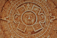 Mayan God Calendar. Brown Stone Dial Royalty Free Stock Photography