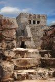 Mayan HoofdRuïnes van de Tempel in Tulum Stock Foto