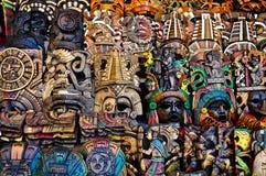 Mayan Houten Maskers voor Verkoop stock foto