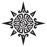 Mayan or Incan symbol of a sun or star. Isolated on white. Great for tattoo or artwork Royalty Free Stock Image