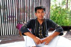 Mayan indian native man in jungle hut stock photo