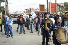 Mayan indigenous celebrating the arrival of the bishop at San Pe Royalty Free Stock Image
