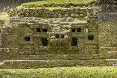 Mayan Jaguar Temple. Close up of the left Jaguar mask built into the Mayan Jaguar Temple in Belize Royalty Free Stock Photo
