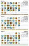 Mayan kalender, april-Juni 2012 (Amerikaan) Stock Afbeelding