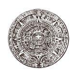 Mayan kalender för tappning traditionell infödd aztec kultur Forntida monokromma Mexico Indianer inristad hand vektor illustrationer