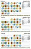 Mayan kalender, januari-Maart 2012 (Amerikaan) Royalty-vrije Stock Foto's