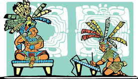 Mayan King and Scribe Stock Image