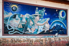 Mayan Legend in a Mural in Guatemala Royalty Free Stock Image