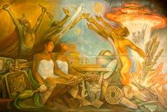 Mayan målning av spansk invasion på Merida arkivfoto