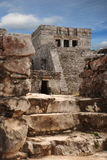 Mayan Main Temple Ruins in Tulum. A dramatic shot of the Tulum ruins Main Temple in the Mayan Riviera, Mexico Stock Photo