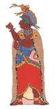 Mayan man i guld- kappa och huvudbonad Royaltyfria Bilder