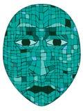 Mayan Mask. In turquoise mosaic tiles Royalty Free Stock Image