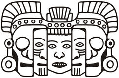 Mayan mask. Black and white drawing of a Mayan death & rebirth mask symbolizing endless human cycle of youth to old age and death Royalty Free Stock Image