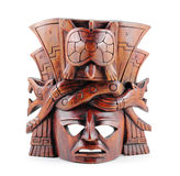 Mayan Mask. Hand-carved wooden Mayan mask isolated on a white background Stock Photography