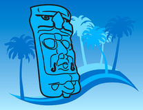 Mayan mask background. Abstract illustration of Mayan mask with tropical palm trees on blue background Stock Illustration