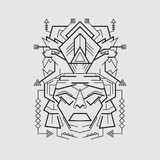 Mayan Mask line style royalty free stock photography