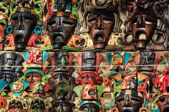 Mayan Masks, Chichen Itza, Yucatan, Mexico Stock Images