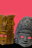 Mayan Masks with red background Royalty Free Stock Photography