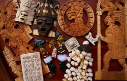 Mayan mexican handcrafts souvenirs mix Stock Image