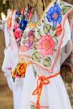 mayan mexico för klänningbroderi kvinna yucatan Arkivbilder