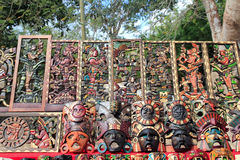 Mayan Mexico wood handcrafts in jungle Royalty Free Stock Photography