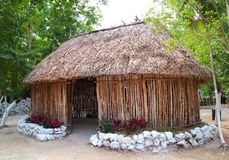 Mayan Mexico wood house cabin hut palapa Royalty Free Stock Photo