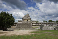 Mayan Observatory in Chichen Itza Stock Photography