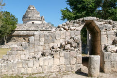 Mayan observatory ruin at Chichen Itza Royalty Free Stock Photography